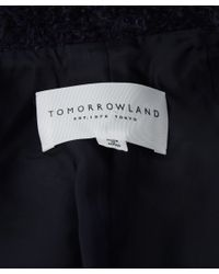 Tomorrowland Blue Navy Belted Mohair Wool-blend Robe Coat