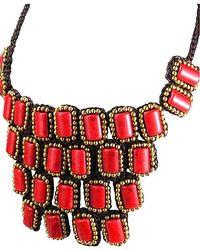 Aeravida - Metallic Mosaic Droplets Natural Stone Statement Brass Necklace - Lyst