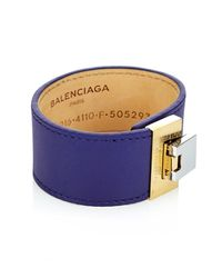 Balenciaga | Blue Le Dix Leather Cuff | Lyst
