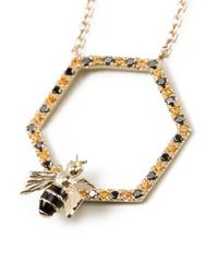 Alison Lou - Yellow Bee In The Trap Necklace - Lyst