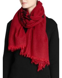 COACH Red X Blitz 'horse & Carriage' Polka Dot Cashmere Scarf