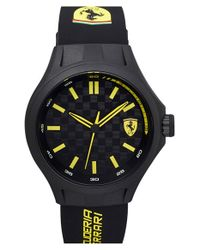Scuderia Ferrari - Black 'pit Crew' Silicone Strap Watch for Men - Lyst