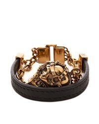 Alexander McQueen - Black Harness Skull Bracelet for Men - Lyst