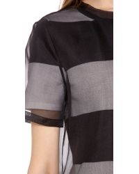 T By Alexander Wang - Gray Organza Overlay Striped Knit Tee Dress - Lyst