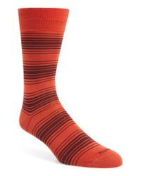 Etiquette - Orange 'tokyo' Stripe Socks for Men - Lyst