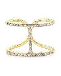 Anne Sisteron - 14kt Yellow Gold Diamond H Ring - Lyst
