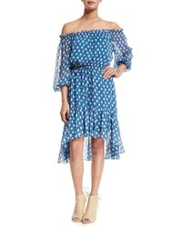 Diane von Furstenberg | Blue Camila Dotted Batik Off-the-shoulder Dress | Lyst