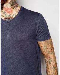 ASOS Blue Longline T-shirt In Slubby Fabric With Mock Grandad Collar for men