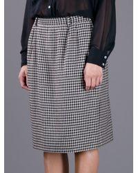Valentino - Black Houndstooth Skirt - Lyst