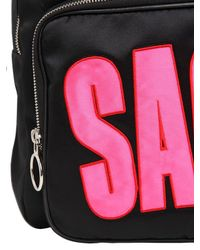 House of Holland Black Sack Embroidered Viscous Satin Backpack