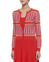 M Missoni - Red Grid-stitched Cropped Cardigan - Lyst