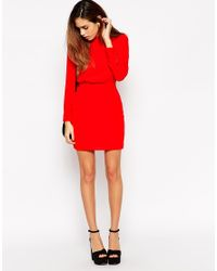 ASOS - Red Petite Mini Dress With High Neck - Lyst