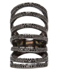 Rask Jewelry - Black 7tier Pave Ring - Lyst