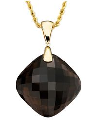 Macy's | Metallic 14k Gold Necklace, Smoky Quartz Pendant (54 Ct. T.w.) | Lyst