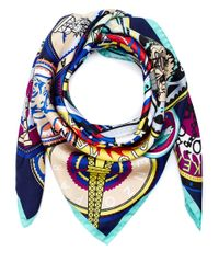 KENZO - Multicolor Multicolour Logo Motif Silk Scarf - Lyst