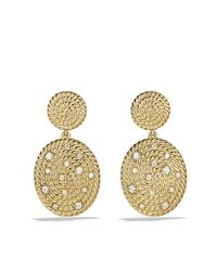David Yurman | Metallic Cable Coil Double-drop Earrings With Diamonds In Gold | Lyst