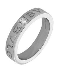 BVLGARI - Metallic White Gold And Diamond Ring - Lyst