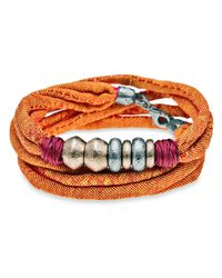Platadepalo | Orange Coloured Textile Bracelet | Lyst