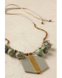 Anthropologie | Gray Jasper Pendant Necklace | Lyst