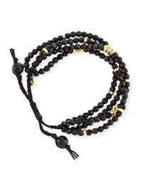 Tai Faceted Black Agate Silk Cord Bracelet