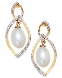 Macy's | Yellow Cultured Freshwater Pearl (9mm) And Diamond Accent Earrings In 14k Gold | Lyst