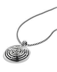 David Yurman Metallic Labyrinth Small Disc Pendant With Diamonds