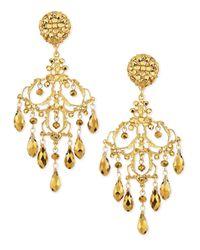 Jose & Maria Barrera Metallic 24K Gold Plated Filigree Chandelier Earrings