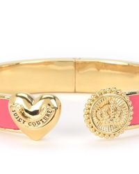 Juicy Couture | Pink Heart And Coin Leather Hinged Bangle Bracelet | Lyst