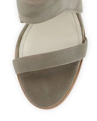 Pour La Victoire - Gray Venga Leather Ankle-wrap Sandal - Lyst
