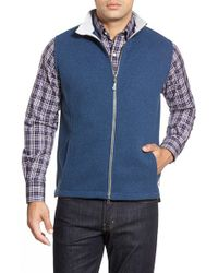 Peter Millar | Green 'melbourne' Contrast Collar Fleece Vest for Men | Lyst