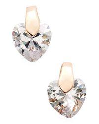 Anne Klein - Pink Cubic Zirconia Heart Stud Earrings - Lyst