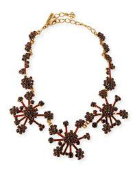 Oscar de la Renta - Purple Crystal Flower Necklace - Lyst