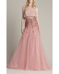 Monique Lhuillier Pink Embroidered Draped Gown