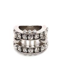 Alexander McQueen Metallic Crystal Bar Skull Ring