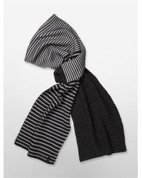 Calvin Klein | Black White Label Textured Stripe Jersey Muffler Scarf | Lyst
