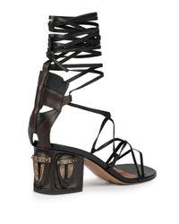 Valentino Black Tribe Gladiator Mask Lace-up Sandals