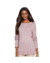 Ralph Lauren - Purple Cable-knit Cotton Sweater - Lyst