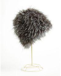 Surell | Gray Fox Fur Cap | Lyst
