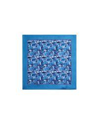 Ferragamo - Blue Florence Skyline Pocket Square - Lyst