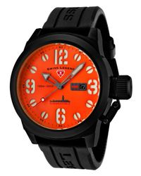 Swiss Legend   Submersible Black Silicone Orange Dial Black Ip Steel Case for Men   Lyst