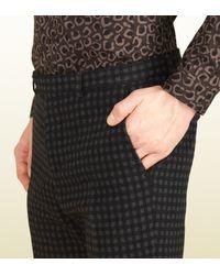 Gucci Black Stirrup Print Wool Dylan 60's Pant for men