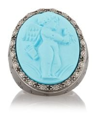 Amedeo Blue Rhodium-Plated, Faux Turquoise And Diamond Cupid Cameo Ring