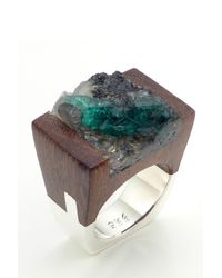 Pasionae | Green Emerald Wood And Sterling Ring - Lust | Lyst