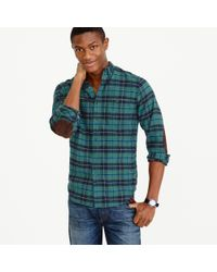 J.Crew Green Cotton-wool Elbow-patch Shirt In Clark Plaid for men