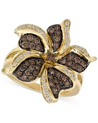 Le Vian | Brown Chocolate And White Diamond Flower Ring (1 Ct. T.w.) In 14k Gold | Lyst
