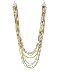 Kenneth Cole - Metallic Twotone Multirow Necklace - Lyst