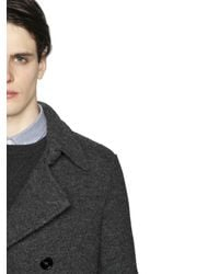 Z Zegna Gray Boiled Wool Jersey Peacoat for men