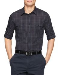 Calvin Klein | Black Plaid Sportshirt for Men | Lyst
