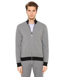 Bikkembergs | Gray Zip-up Stretch Cotton Sweatshirt | Lyst