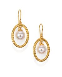 Majorica Metallic 10mm White Pearl Rope Oval Drop Earrings/goldtone